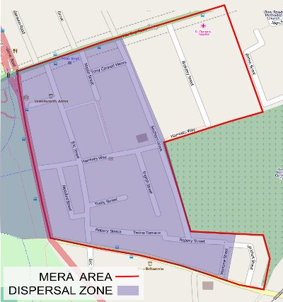 Dispersal zone in the Eric Street